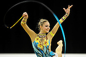Olympic Test Event  Gymnastics. O2 Arena London England. 18.1.12. Rhythmic Competition. Djamila.RAKHMATOVA,OF uzb IN ACTION