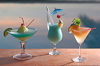 Tropical drinks at Pool, La Luna, Hotel, Grenada, Caribbean Island.