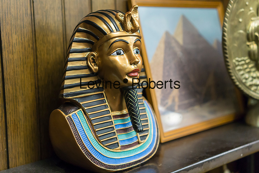 Egyptian paraphernalia in the Brownsville Heritage House in the Brownsville neighborhood of Brooklyn in New York on Saturday, May 7, 2016.  (© Richard B. Levine)