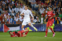 Cardiff City Stadium, Cardiff, South Wales - Tuesday 12th Aug 2014 - UEFA Super Cup Final - Real Madrid v Sevilla - <br /> <br /> Real Madrid&rsquo;s Gareth Bale watch's his attempt at goal go wide. <br /> <br /> <br /> <br /> Photo by Jeff Thomas/Jeff Thomas Photography