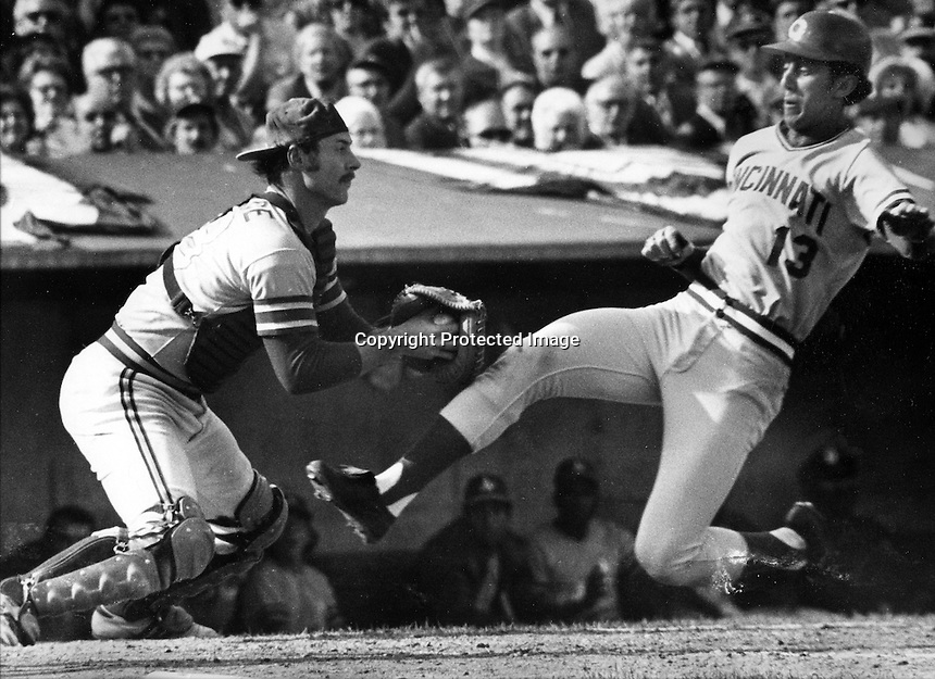 Cincinnati Reds Dave Concepcion is out at home tagged by Oakland Athletics Gene Tenace. (1972 World Series) photo by Ron Riesterer