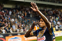 Jose Kleberson (19) of the Philadelphia Union celebrates after the match. The Philadelphia Union defeated Toronto FC 1-0 during a Major League Soccer (MLS) match at PPL Park in Chester, PA, on October 5, 2013.