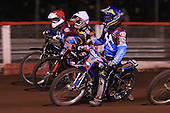 Heat 8: Daniel Davidsson (blue), Ty Proctor (white) and Stuart Robson (red) - Lakeside Hammers vs Wolverhampton Wolves, Elite Shield Speedway at the Arena Essex Raceway, Purfleet - 26/03/10 - MANDATORY CREDIT: Rob Newell/TGSPHOTO - Self billing applies where appropriate - 0845 094 6026 - contact@tgsphoto.co.uk - NO UNPAID USE.