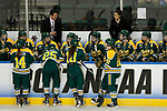 ST CHARLES, MO - MARCH 19:  Members of the Clarkson Golden Knights discuss strategy at the team bench during the Division I Women's Ice Hockey Championship held at The Family Arena on March 19, 2017 in St Charles, Missouri. Clarkson defeated Wisconsin 3-0 to win the national championship. (Photo by Mark Buckner/NCAA Photos via Getty Images)