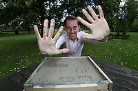 **NO REPRODUCTION FEE**<br /> 16/07/14  Ryan Tubridy pictured  signing his name and making a cast of his hands for the Cong Hands of Fame wall.  Ryan was the first person to make a cast his hands for the Cong Hands of Fame Wall which will be cast in bronze, and feature casts of the hands of  famous people from all walks of life. It will be unveiled in  October in the town of Cong in Mayo.<br /> Picture Colin Keegan, Collins Dublin.<br /> **NO REPRODUCTION FEE**
