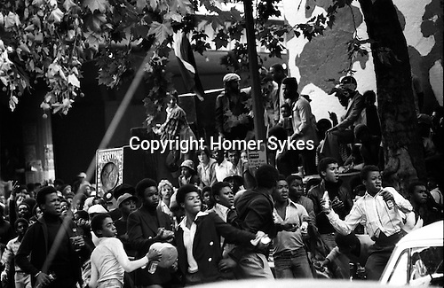 Notting Hill Gate Carnival race riot, London W11 England 1976.