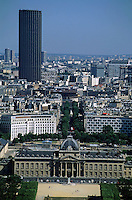 City buildings seen from the Eiffel Tower including the Montparnasse Tower and École Militaire, Paris, France.
