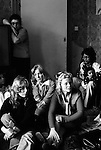 Chiswick Women Aid Shelter for Battered Women. London England 1976. Group of battered women who are staying seeking refuge in the hostel, a morning meeting.