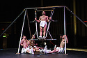 London, UK. 26.03.2014. Compagnie La Meute in the UK premiere of LA MEUTE (The Wolf Pack), at the Roundhouse, as part of CircusFest 2014. Performers are: Julien Auger, Thibaut Brignier, Mathieu Lagaillarde, Sidney Pin, Arnau Serra Vila, Bahoz Temaux. Photograph © Jane Hobson.