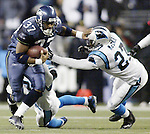 Seattle Seahawks running back Shaun Alexander rushes in the 34-14 victory over the Carolina Panthers at QWEST Field in Seattle. Jim Bryant Photo. ©2010.