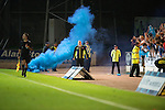 St Johnstone v FC Minsk...08.08.13 Europa League Qualifier<br /> A blue smoke bomb flare is thrown onto McDiarmid Park<br /> Picture by Graeme Hart.<br /> Copyright Perthshire Picture Agency<br /> Tel: 01738 623350  Mobile: 07990 594431