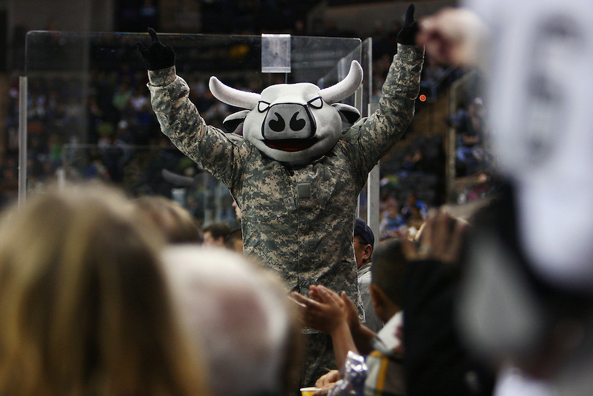 San Antonio Rampage mascot T-Bone entertains fans during an AHL hockey game between the Rampage and the Rockford IceHogs, Saturday, Feb. 28, 2009, at the AT&T Center in San Antonio, Texas. (Darren Abate/pressphotointl.com)