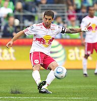 New York Red Bulls defender Carlos Mendes looks to pass during play against the Seattle Sounders FC at Qwest Field in Seattle Saturday June 23, 2011. The Sounders won the game 4-2.