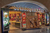 Looking at the interior entrance to the Spirit of Hockey Retail Store at the Hockey Hall of Fame in Toronto.