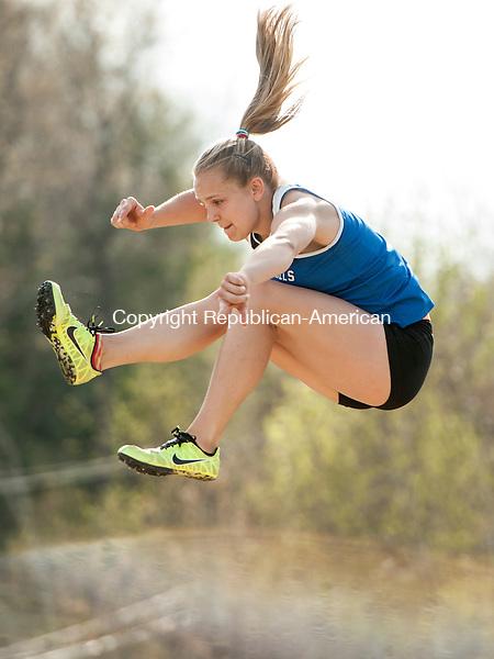 BURLINGTON, CT-5 May 2015-050515EC11-  Lewis Mills' Morgan Sederquist competes in the long jump Tuesday in Burlington. Erin Covey Republican-American