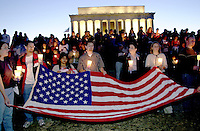 September 14, 2001_Lincoln Memorial, Washington,DC.People in Washington at the Lincoln memorial, like others across the nation came out at 7PM to light candles for those that died or were injured in the terrorists acts this week across the US.  .(C) 2001 Sandy Schaeffer / MAI / TimePix Sandy Schaeffer Photography - Washington DC Photographer<br />