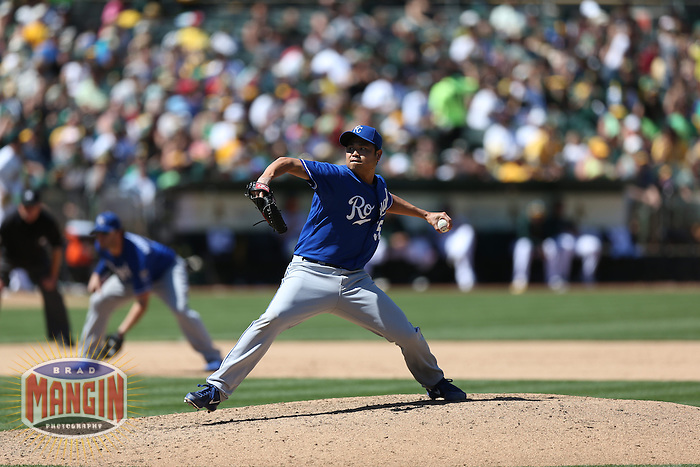 OAKLAND, CA - MAY 19:  Bruce Chen #52 of the Kansas City Royals pitches during the game against the Oakland Athletics at O.co Coliseum on Sunday May 19, 2013 in Oakland, California. Photo by Brad Mangin