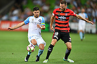 Melbourne, 6 January 2017 - BRUNO FORNAROLI (23) of Melbourne City and ROBERT CORNTHWAITE (18) of the Wanderers fight for the ball in the round 14 match of the A-League between Melbourne City and Western Sydney Wanderers at AAMI Park, Melbourne, Australia. Melbourne won 1-0 (Photo Sydney Low / sydlow.com)