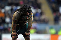 Logovi'i Mulipola of Leicester Tigers looks on during a break in play. Aviva Premiership match, between Leicester Tigers and Sale Sharks on February 6, 2016 at Welford Road in Leicester, England. Photo by: Patrick Khachfe / JMP