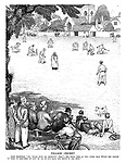 """Village Cricket. Local inhabitant. """"Ay, trade must be improvin'; that's the third time in two overs the Evans the grocer 'as 'eard 'is shop-bell go and 'as 'ad to run back and serve in the shop."""""""