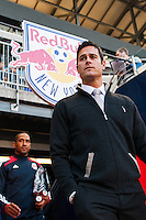New York Red Bulls head coach Mike Petke and assistant coach Robin Fraser enter the field prior to the start of the match. The New York Red Bulls defeated the Chicago Fire 5-2 during a Major League Soccer (MLS) match at Red Bull Arena in Harrison, NJ, on October 27, 2013.