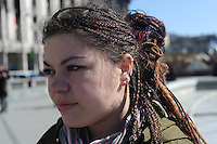 Olesya, 21, a volunteer nurse on Maidan Square from Kremenec, revisits the spot where she was injured in Kiev, Ukraine on April 5, 2014.  Olesya was shot through the neck, famously tweeting &quot;I'm dying&quot; immediately after it happened; she was operated on quickly and survived.<br /> <br /> &quot;I'm blaming the previous authorities, Yanukovych and those in power who followed his orders for what happened to me.  From the very beginning I was supporting the student demonstrations and all these clashes with students really annoyed me.  I was here from December 4.  I really support an association agreement with the European Union.  I want to see a free and independent Ukraine from Russia.  I want Russia to call back their military troops.  We want normal authorities who will do their jobs properly, who will really value people and serve the people.  Because of Maidan people understand that they really love this country. Something woke up in them, they are awake and loving and taking care of this country.&quot;