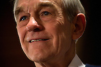 Congressman Ron Paul speaks at a town hall meeting and rally at the Church Landing at Mills Falls hotel in Meredith, New Hampshire, on Jan. 8, 2012. Paul is seeking the 2012 Republican presidential nomination.
