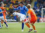 St Johnstone v Dundee Utd....21.04.12   SPL.Fran Sandaza and Robbie Neilson.Picture by Graeme Hart..Copyright Perthshire Picture Agency.Tel: 01738 623350  Mobile: 07990 594431