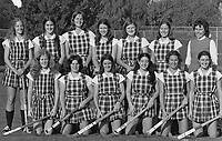 1974: Field hockey team photo. Standing (l to r): Emily Wilkins, Ann Walker, Onnie Killefer, Betsy Morris, Janell Edman, Jane Soyster, head coach Shirley Schoof. Sitting (l to r): Dian Gates, Kathy Levinson, Cappy Coleman, Jane Schultz, Susie Schatzman, and Lyse Strnad.