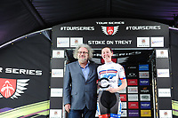 Picture by Simon Wilkinson/SWpix.com 11/05/2017 - Cycling - Tour Series Round 2 - Matrix Fitness Womens Race Stoke, Stoke-on-Trent, England - Team WMT's Katie Archibald takes the win at the Tour Series Matrix Fitness Womens Race in Stoke.