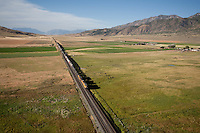 aerials, freight train ,Mona, UT