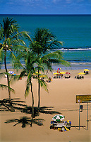 Boa Viagem Beach with bilingual Portuguese - English sign saying No Surfing, Recife, Pernambuco, Brazil