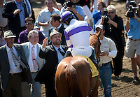 April 7, 2012. I'll Have Another and Mario Gutierrez win the Santa Anita Derby(GI) at Santa Anita Park in Arcadia, CA.