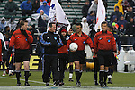 13 December 2009: Match officials. From left: Assistant Referee Andy Chapin, Alternate Official Lou Labbadia, Match Referee Chico Grajeda, and Assistant Referee Alex Gorin. The University of Virginia Cavaliers defeated the University of Akron Zips 3-2 on penalty kicks after playing to a 0-0 overtime tie at WakeMed Soccer Stadium in Cary, North Carolina in the NCAA Division I Men's College Cup Championship game.