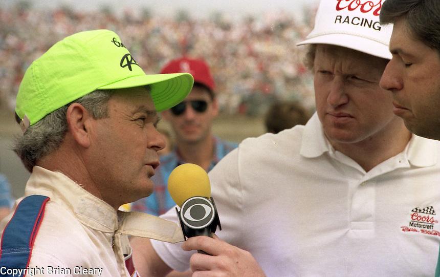 Jody Ridley Bill Elliott Mike Joy Daytona 500 at Daytona International Speedway on February 19, 1989.  (Photo by Brian Cleary/www.bcpix.xom)
