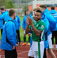 Lincoln City's Nathan Arnold celebrates the victory<br /> <br /> Photographer Andrew Vaughan/CameraSport<br /> <br /> Vanarama National League - Gateshead v Lincoln City - Monday 17th April 2017 - Gateshead International Stadium - Gateshead <br /> <br /> World Copyright &copy; 2017 CameraSport. All rights reserved. 43 Linden Ave. Countesthorpe. Leicester. England. LE8 5PG - Tel: +44 (0) 116 277 4147 - admin@camerasport.com - www.camerasport.com