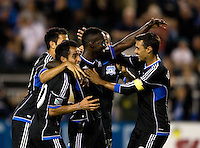 Simon Dawkins of Earthquakes celebrates with teammates after Dawkins scored a goal during the second half of the game against Seattle at Buck Shaw Stadium in Santa Clara, California on August 11th, 2012.   Earthquakes defeated Sounders, 2-1.