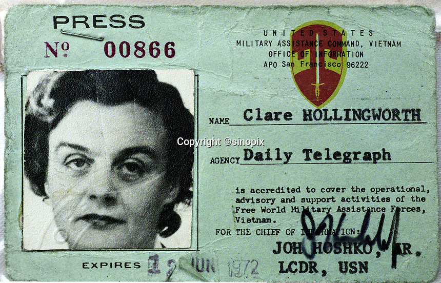 090201: CLARE HOLLINGWORTH: HONG KONG<br /> Ninety year-old Clare Hollingworth's old press card. Hollingworth is a celebrated veteran journalsit living in the ex-British colony.<br /> Photo by Richard Jones/sinopix<br /> &copy;sinopix