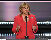 Governor Mary Fallin (Republican of Oklahoma), Co-Chair, Platform Committee at the 2016 Republican National Convention held at the Quicken Loans Arena in Cleveland, Ohio on Monday, July 18, 2016.<br /> Credit: Ron Sachs / CNP<br /> (RESTRICTION: NO New York or New Jersey Newspapers or newspapers within a 75 mile radius of New York City)
