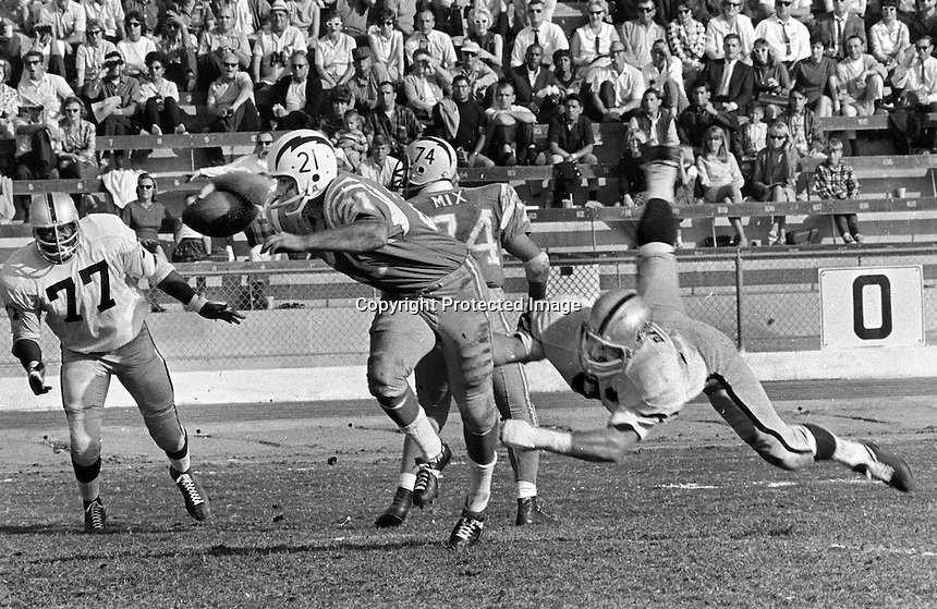 Oakland Raiders Ben Davidson dives for the legs of San Diego quarterback John Hadl, #77 Ike Lassiter.(1966 photo by Ron Riesterer)