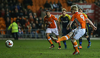 Blackpool's Mark Cullen scores the opening goal from the penalty spot <br /> <br /> Photographer Alex Dodd/CameraSport<br /> <br /> The EFL Sky Bet League Two - Blackpool v Stevenage - Tuesday 14th March 2017 - Bloomfield Road - Blackpool<br /> <br /> World Copyright &copy; 2017 CameraSport. All rights reserved. 43 Linden Ave. Countesthorpe. Leicester. England. LE8 5PG - Tel: +44 (0) 116 277 4147 - admin@camerasport.com - www.camerasport.com
