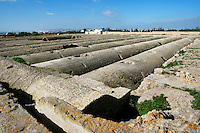 """High angle view of the Roman cisterns (known on French as """"Citernes de la Malga"""") in Carthage, Tunisia, pictured on January 28, 2008, in the afternoon. Carthage was founded in 814 BC by the Phoenicians who fought three Punic Wars against the Romans over this immensely important Mediterranean harbour. The Romans finally conquered the city in 146 BC. Subsequently it was conquered by the Vandals and the Byzantine Empire. Today it is a UNESCO World Heritage. The 24 large Roman cisterns were supplied with water by the aqueduct, built in the 2nd century by the emperor Hadrian. Picture by Manuel Cohen."""