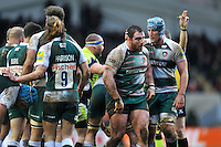 Fraser Balmain of Leicester Tigers is congratulated by team-mate Jordan Crane after securing a turnover. Aviva Premiership match, between Leicester Tigers and Sale Sharks on February 6, 2016 at Welford Road in Leicester, England. Photo by: Patrick Khachfe / JMP