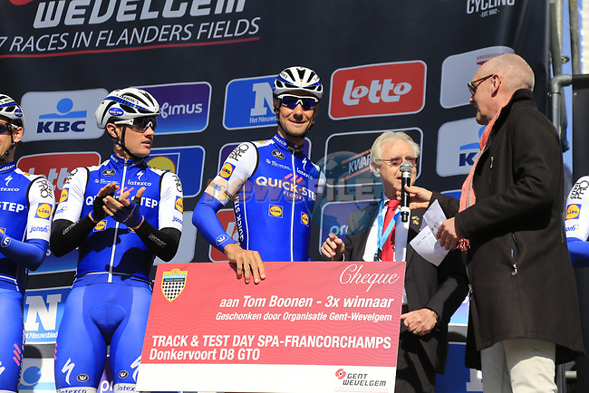 Soon to retire Tom Boonen (BEL) Quick-Step Floors team on stage at sign on for Gent-Wevelgem in Flanders Fields 2017, running 249km from Denieze to Wevelgem, Flanders, Belgium. 26th March 2017.<br /> Picture: Eoin Clarke | Cyclefile<br /> <br /> <br /> All photos usage must carry mandatory copyright credit (&copy; Cyclefile | Eoin Clarke)
