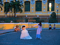 Wedding shoot and Photography outside the Saigon Post office in central Saigon