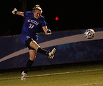 Junior Goalkeeper Kayla King launches the ball down field during the University of Kentucky vs UT-Martin soccer game in the first round of the NCAA Soccer Tournament in Lexington, Ky., on, 11 11/9/2012, {year}. Photo by Jared Glover | Staff