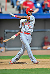 12 March 2012: St. Louis Cardinals infielder Eugenio Velez in action during a Spring Training game against the Washington Nationals at Space Coast Stadium in Viera, Florida. The Nationals defeated the Cardinals 8-4 in Grapefruit League play. Mandatory Credit: Ed Wolfstein Photo