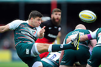 Ben Youngs of Leicester Tigers box-kicks the ball. Aviva Premiership semi final, between Saracens and Leicester Tigers on May 21, 2016 at Allianz Park in London, England. Photo by: Patrick Khachfe / JMP