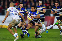 Ben Tapuai of Bath Rugby looks to pass the ball. Aviva Premiership match, between Bath Rugby and Exeter Chiefs on December 31, 2016 at the Recreation Ground in Bath, England. Photo by: Patrick Khachfe / Onside Images