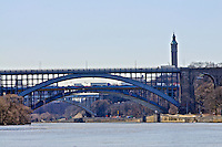 Three of the bridges that cross the Harlem River are visible, Washington Bridge, Alexander Hamilton Bridge, High Bridge, connect  Manhattan and Bronx New York City, New York, USA